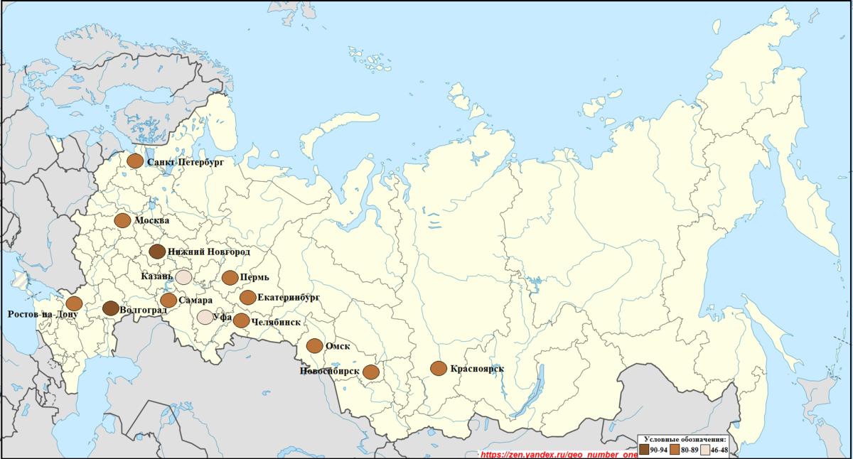 Доля русских в городах-миллионерах России