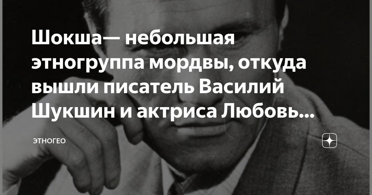 Шокша— небольшая этногруппа мордвы, откуда вышли писатель Василий Шукшин и актриса Любовь Толкалина